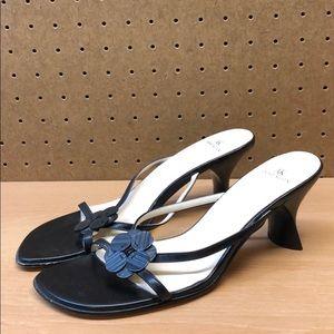 Anne Klein Leather Slip on Heel Sandals sz 7.5